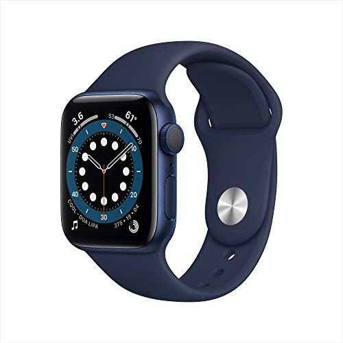 Apple Watch Series 6 (GPS, 40 mm) Caja de aluminio en azul - Correa deportiva azul marino intenso