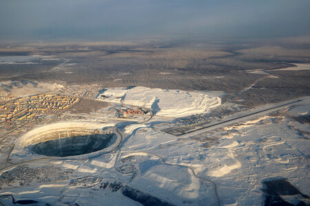 Aerial View Of Mirny City Mir Mine And Mirny Airport